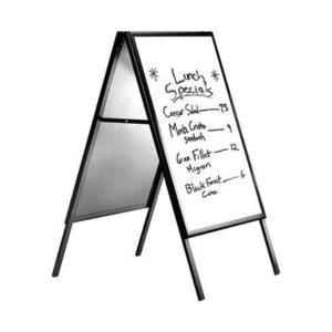 Πίνακας μενού εστιατορίου με μαύρο περίγραμμα και λευκή επιφάνεια 60x80