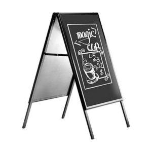 Πίνακας μενού εστιατορίου με μαύρο περίγραμμα και μαύρη επιφάνεια 60x80